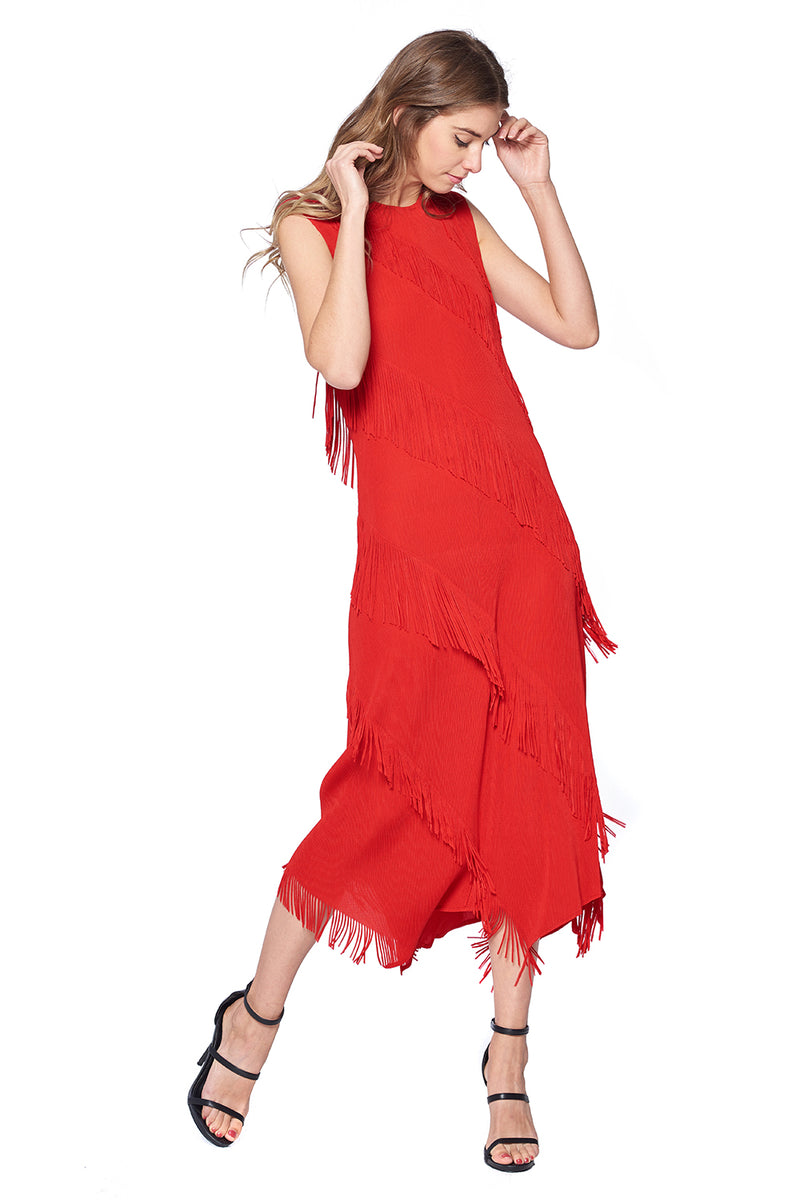Pleated Aaron Dress Red 87179