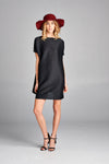 Pleated Black Tunic Dress zl114a