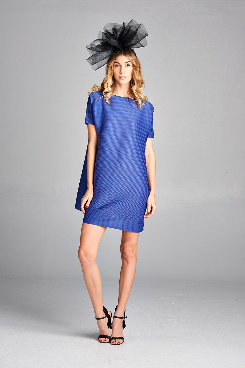 Pleated Blue Tunic Dress zl114a