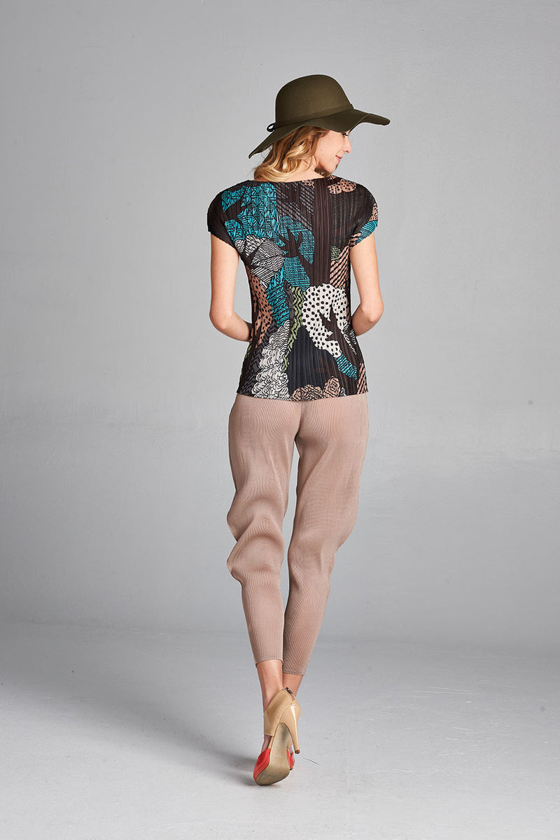 Pleated Brown Tree Printed  Top j665