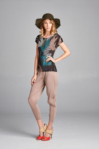 Pleated Grey Nora Top  With  Half Sleeve 20675