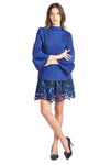 Pleated  Claudia  Tunic Blouse Navy 8662