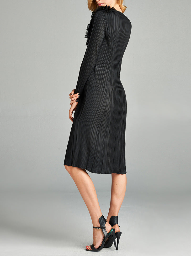 Pleated Black Flori Dress With Long  Sleeve ZL95