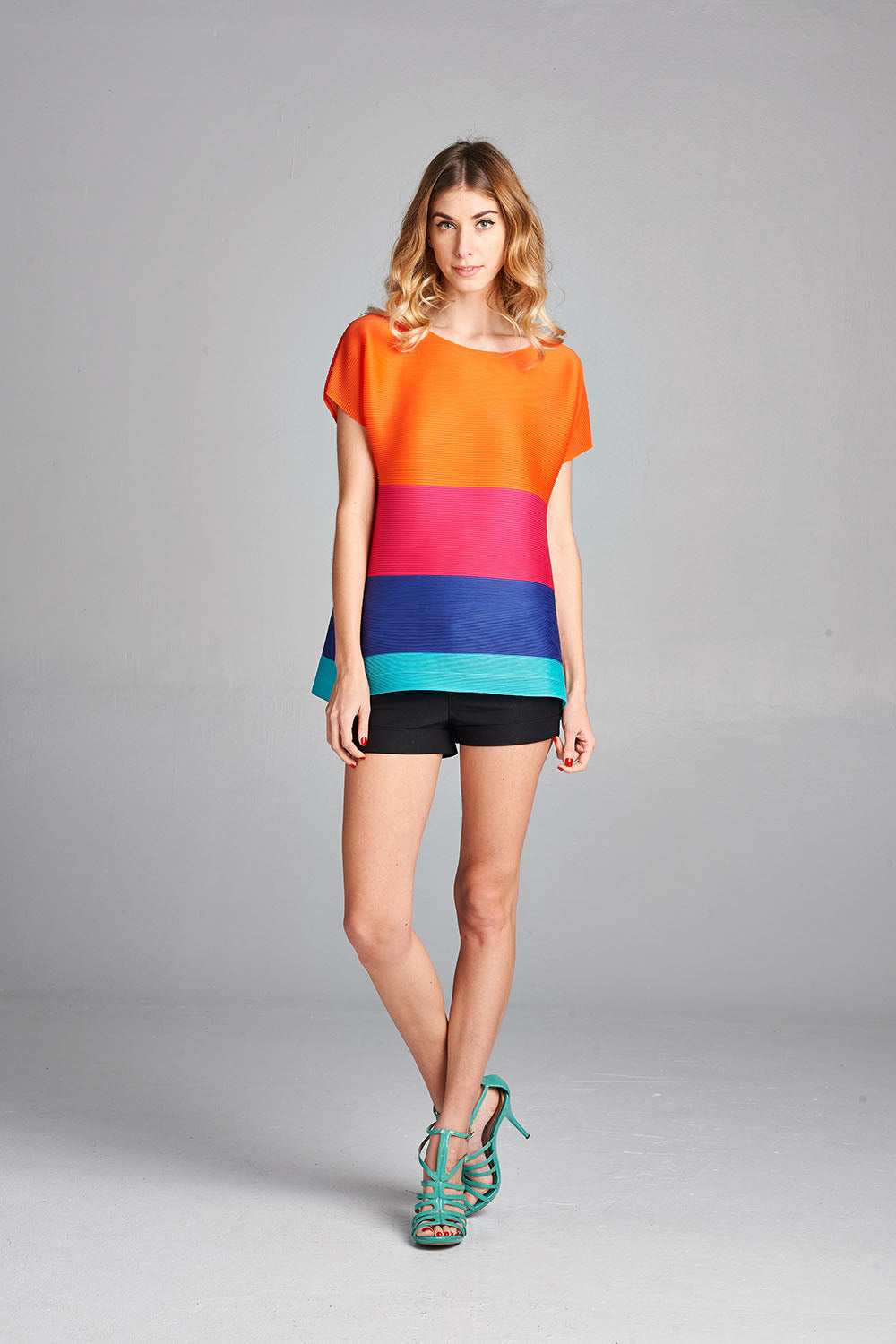Pleated Podo Color Block  Top ZS123