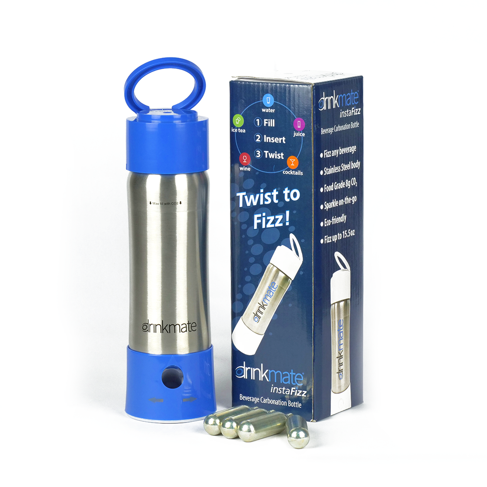 instaFizz Stainless Carbonation Bottle (w/ 4 pc 8g CO2) Special offer - $20 off plus a FREE sleeve!