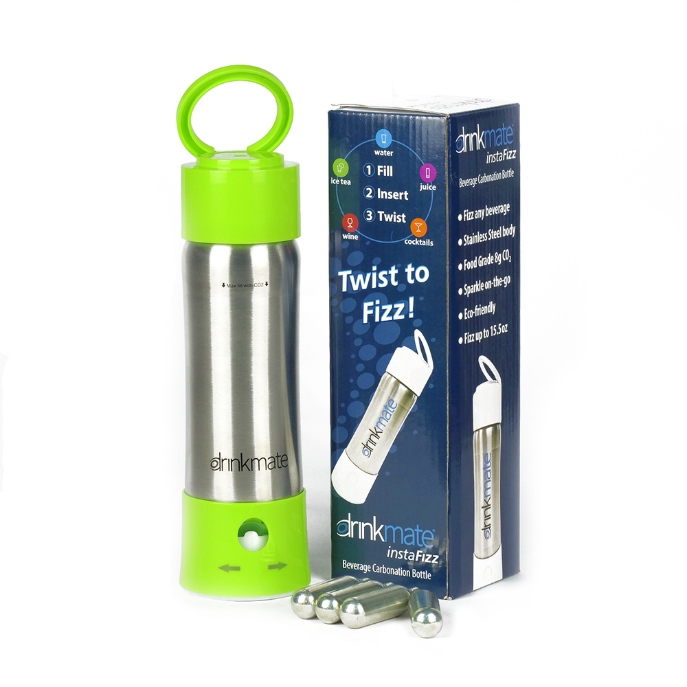 instaFizz Stainless Carbonation Bottle (w/ 4 pc 8g CO2) Special offer - $10 off plus a FREE sleeve!