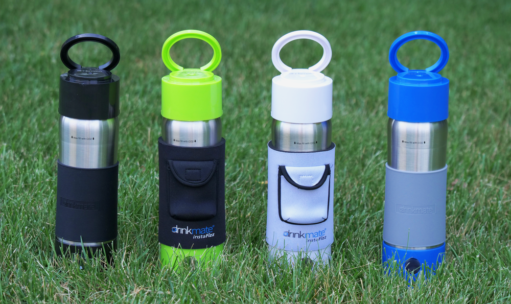 Drinkmate instaFizz Stainless Steel Carbonation Bottle (with 4 pc 8g CO2) Special Launch offer - $10 off plus a FREE insulating sleeve!