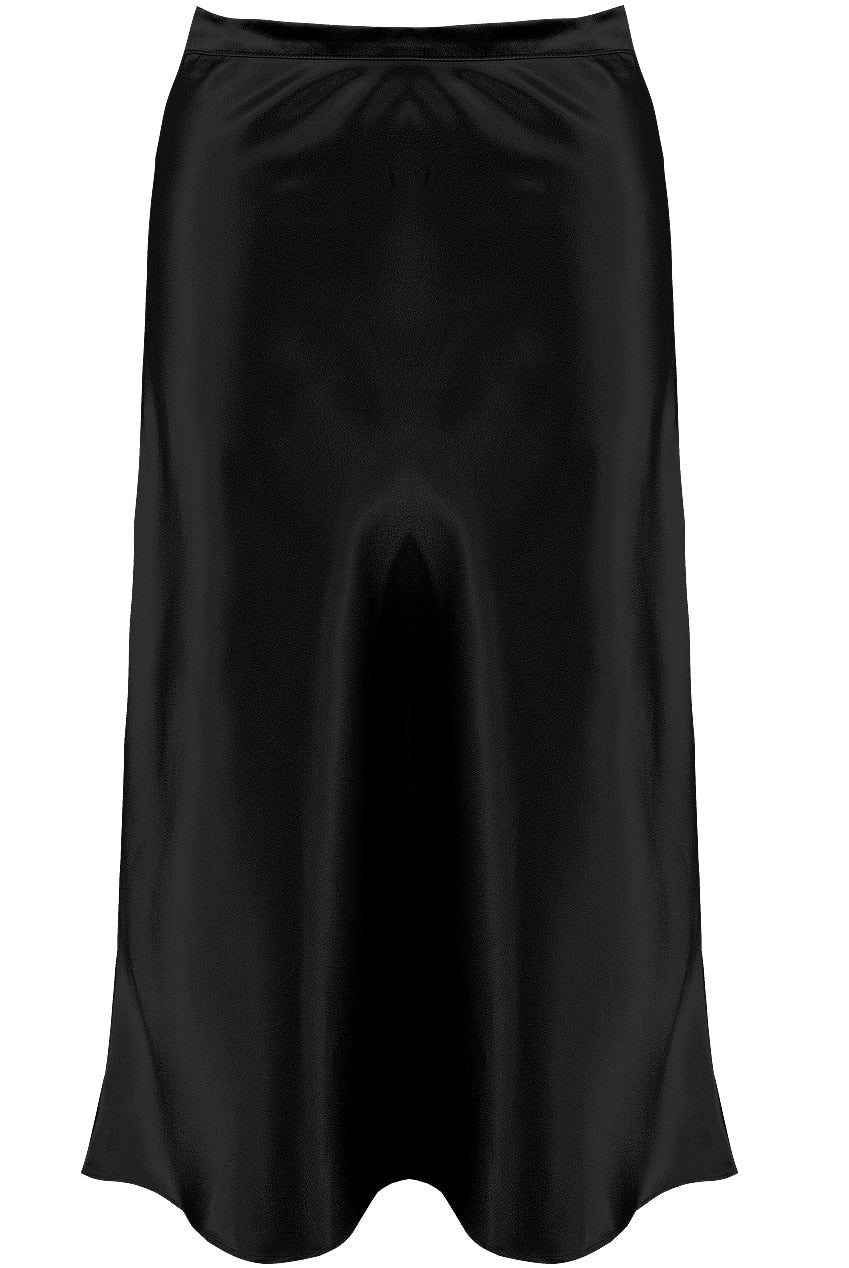 Sleek Satin Bias Midi Skirt