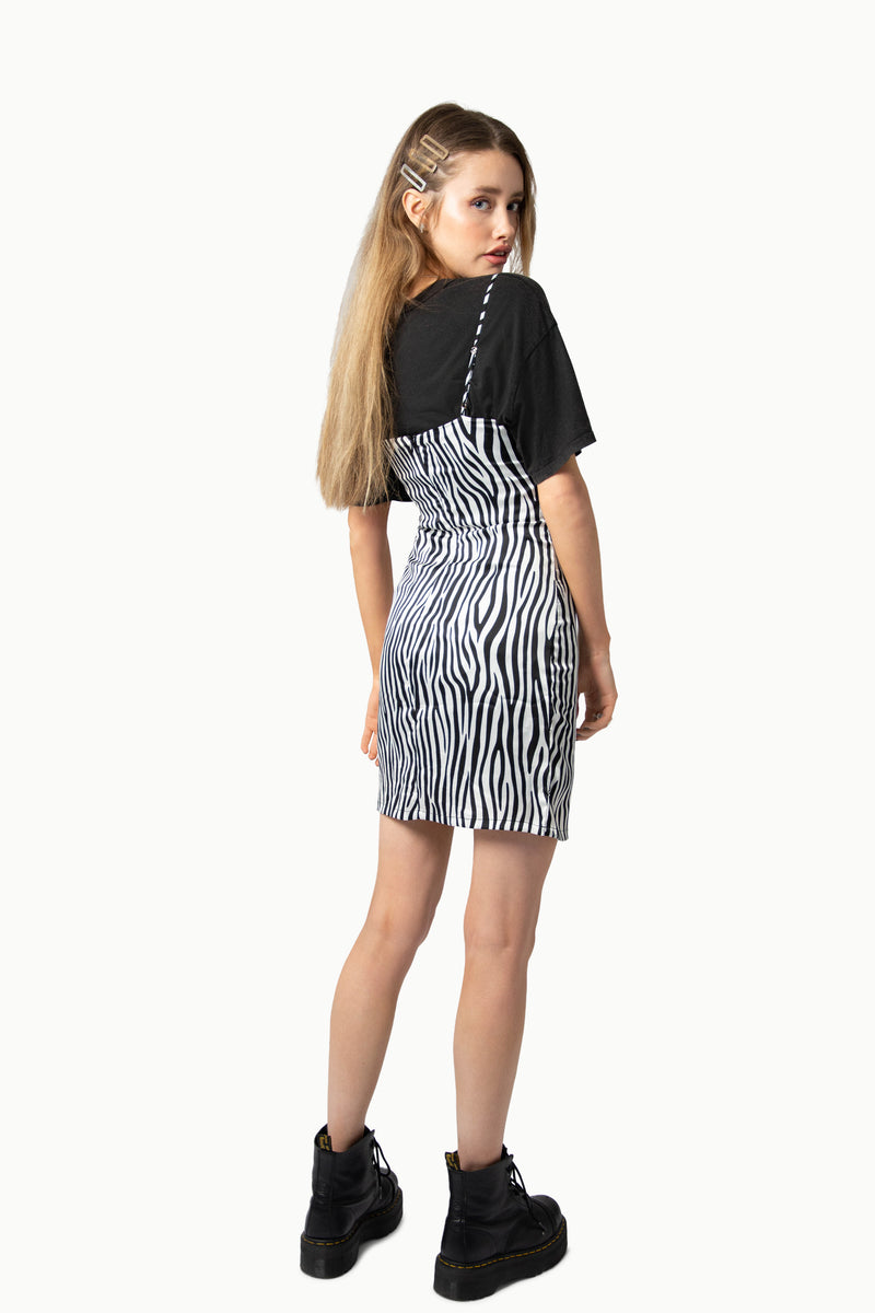 Satin Zebra Cami Dress