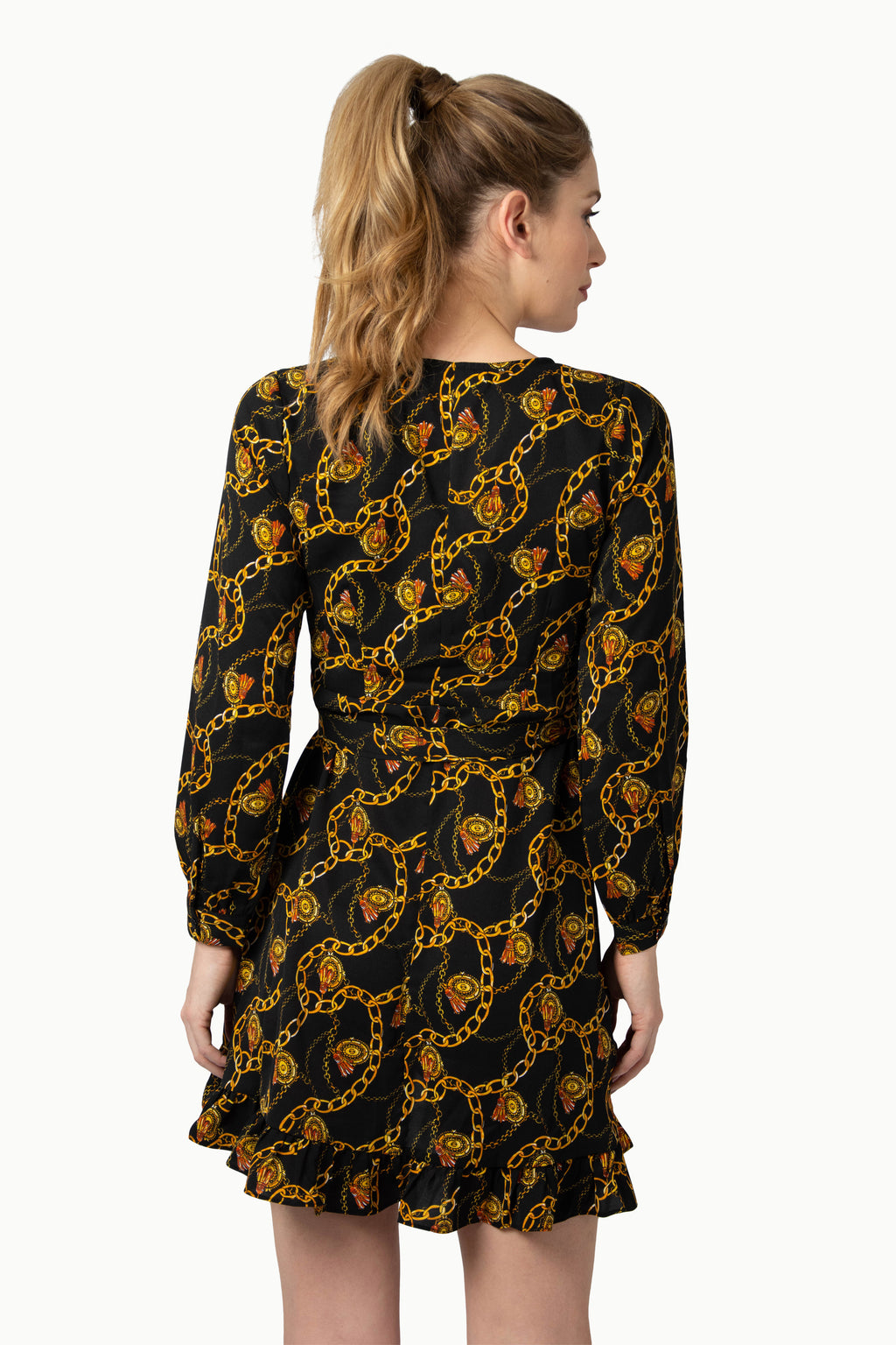 Mini Baroque Print Dress