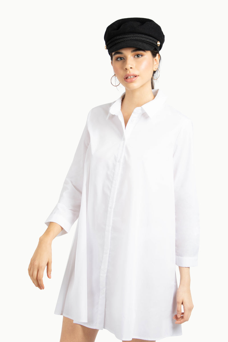 White Oversized Shirt Dress