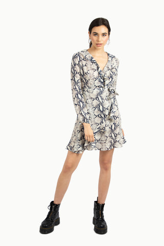 Side Tie Button Wrap Dress