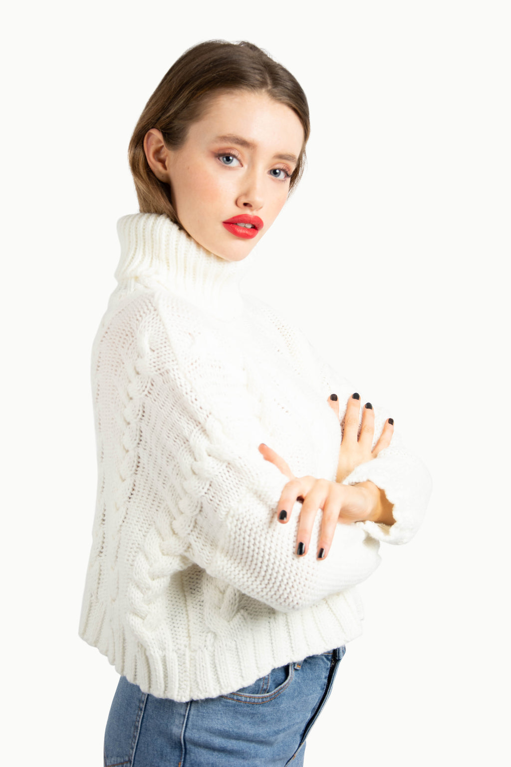 Off White Cropped Knitted Jumper