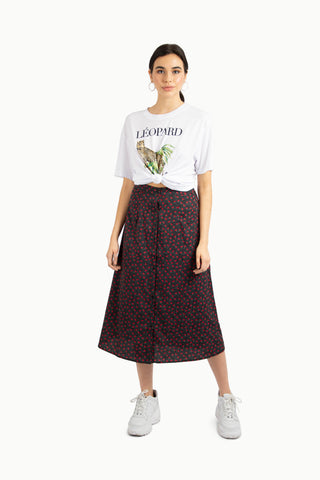 Spotted Satin Bias Midi Skirt