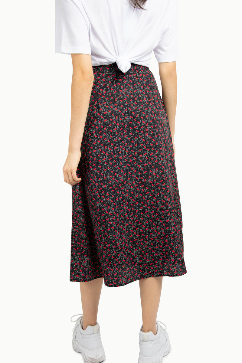Ditsy Cherry Print Button Down Midi Skirt