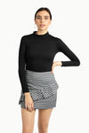 Stripe Asymmetric Mini Skirt