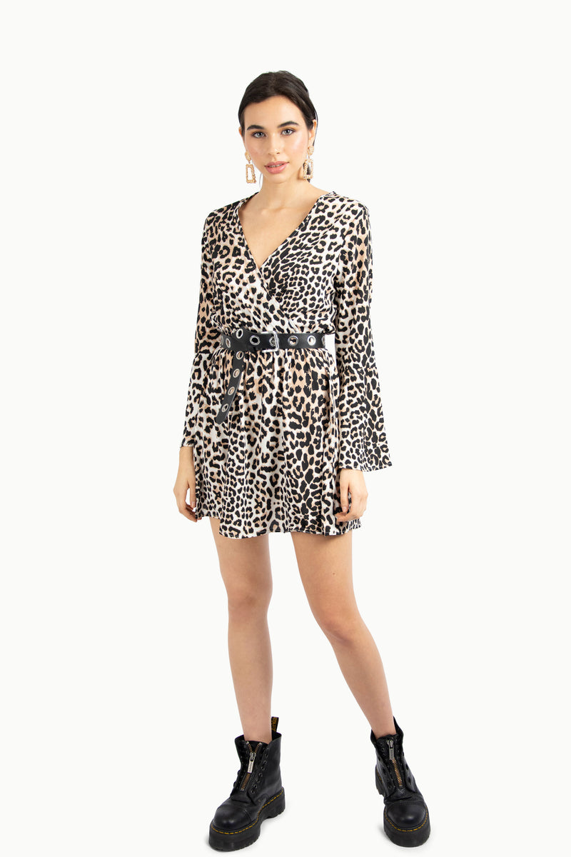 Leopard Print Flute Sleeve Skater Dress