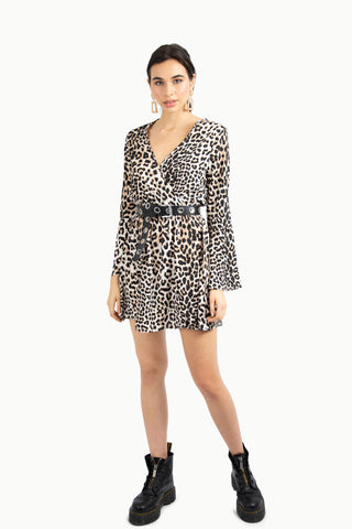 Leopard Tie Shoulder Dress