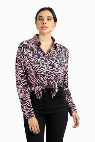 Leopard Print Button Front Blouse