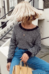 Black Fluffy Stripe Knitted Jumper
