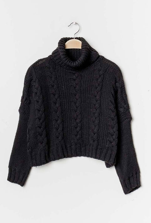 Black Cropped Knitted Jumper