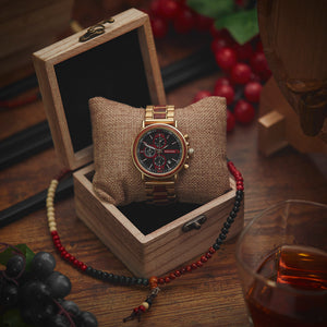 Quartz Watches Bobo Bird Men's Gold & Red Chronograph Watch - Suit Monkey UK