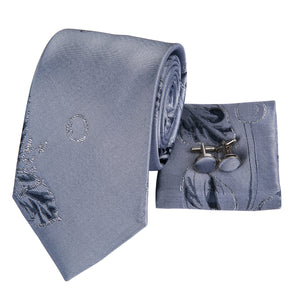 Men's Ties & Handkerchiefs Floral Grey Men's Necktie Set - Suit Monkey UK