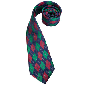 Men's Ties & Handkerchiefs Blue, Red & Green Diamond Men's Necktie Set - Suit Monkey UK