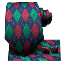 Load image into Gallery viewer, Men's Ties & Handkerchiefs Blue, Red & Green Diamond Men's Necktie Set - Suit Monkey UK