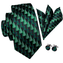 Load image into Gallery viewer, Men's Ties & Handkerchiefs Black & Green Christmas Trees Men's Necktie Set - Suit Monkey UK