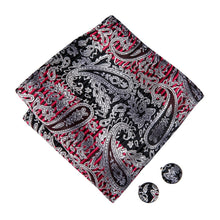 Load image into Gallery viewer, Men's Ties & Handkerchiefs Black & Red Men's Paisley Bow Tie Set - Suit Monkey UK
