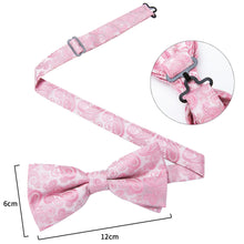 Load image into Gallery viewer, Men's Ties & Handkerchiefs Pink Paisley Men's Bow Tie Set - Suit Monkey UK