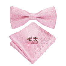 Load image into Gallery viewer, Men's Ties & Handkerchiefs Pink Floral Men's Bow Tie Set - Suit Monkey UK