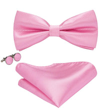 Load image into Gallery viewer, Men's Ties & Handkerchiefs Solid Pink Men's Bow Tie Set - Suit Monkey UK
