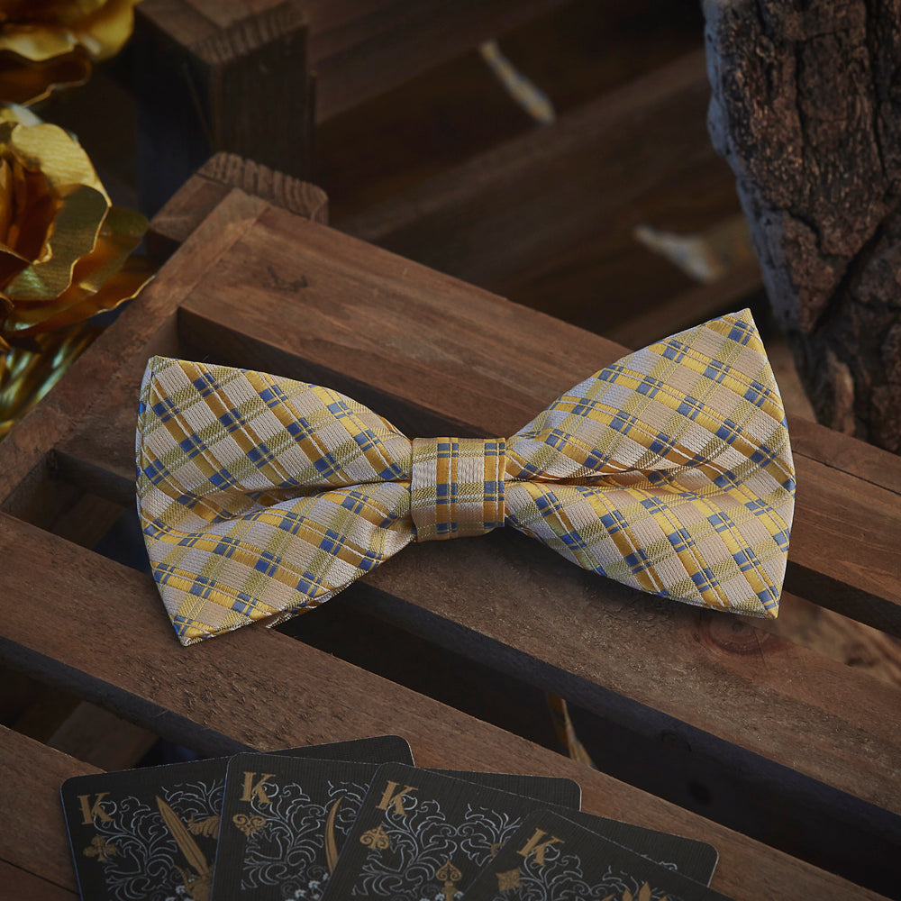 Men's Ties & Handkerchiefs Yellow Chequered Men's Bow Tie Set - Suit Monkey UK