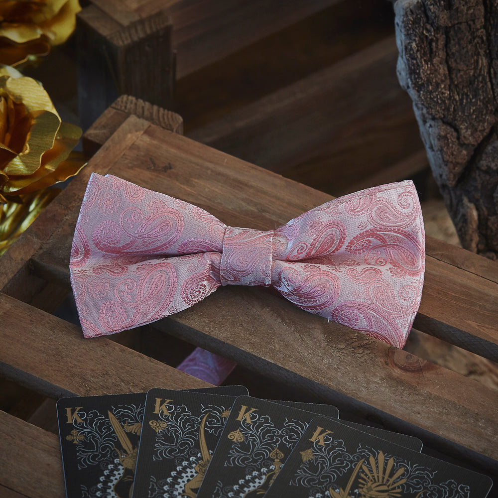 Men's Ties & Handkerchiefs Pink Paisley Men's Bow Tie Set - Suit Monkey UK