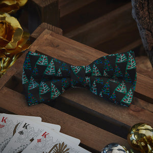 Men's Ties & Handkerchiefs Black & Green Christmas Trees Men's Bowtie Set - Suit Monkey UK