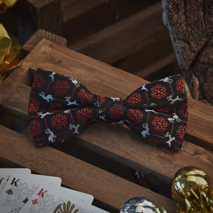 Men's Ties & Handkerchiefs Black & Red Reindeer Men's Bow Tie Set - Suit Monkey UK