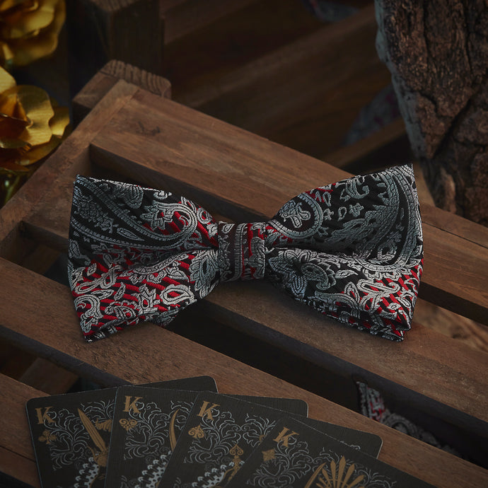 Men's Ties & Handkerchiefs Black & Red Men's Paisley Bow Tie Set - Suit Monkey UK