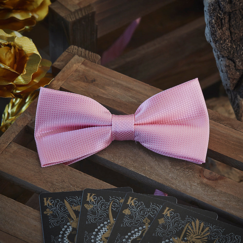 Men's Ties & Handkerchiefs Solid Pink Men's Bow Tie Set - Suit Monkey UK