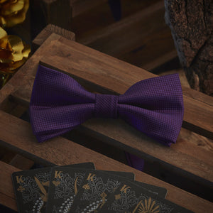 Men's Ties & Handkerchiefs Solid Purple Men's Bow Tie Set - Suit Monkey UK