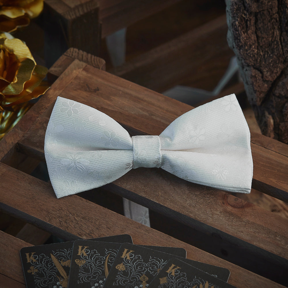 Men's Ties & Handkerchiefs White Floralia Men's Bow Tie Set - Suit Monkey UK