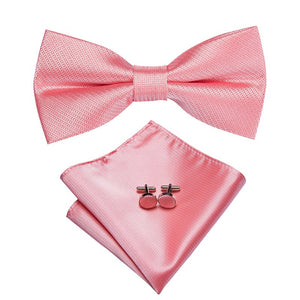 Men's Ties & Handkerchiefs Simple Pink Men's Bow Tie Set - Suit Monkey UK