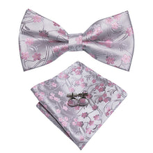 Load image into Gallery viewer, Men's Ties & Handkerchiefs Pink Blossoms Men's Bow Tie Set - Suit Monkey UK