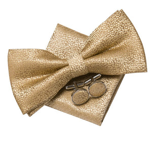 Men's Ties & Handkerchiefs Gold Men's Bow Tie Set - Suit Monkey UK