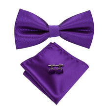 Load image into Gallery viewer, Men's Ties & Handkerchiefs Solid Purple Men's Bow Tie Set - Suit Monkey UK