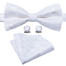 Load image into Gallery viewer, Men's Ties & Handkerchiefs White Floralia Men's Bow Tie Set - Suit Monkey UK