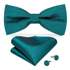 Men's Ties & Handkerchiefs Solid Green Men's Bow Tie Set - Suit Monkey UK
