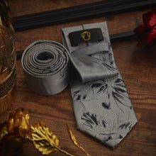 Load image into Gallery viewer, Men's Ties & Handkerchiefs Floral Grey Men's Necktie Set - Suit Monkey UK