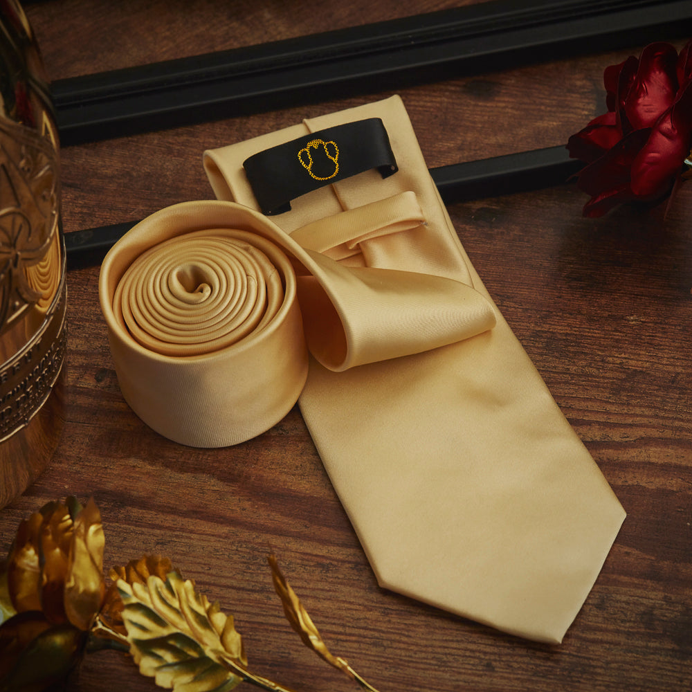 Men's Ties & Handkerchiefs Simple Gold Men's Necktie Set - Suit Monkey UK